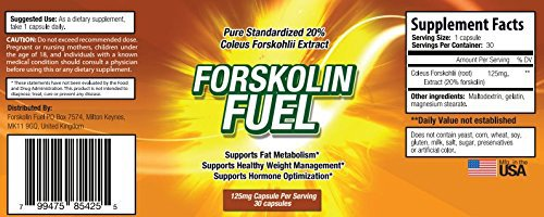 Forskolin Fuel - Ingredients - Label - United States, Canada, Australia