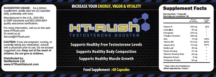 HT Rush Exclusive Supplement - Ingredients Label