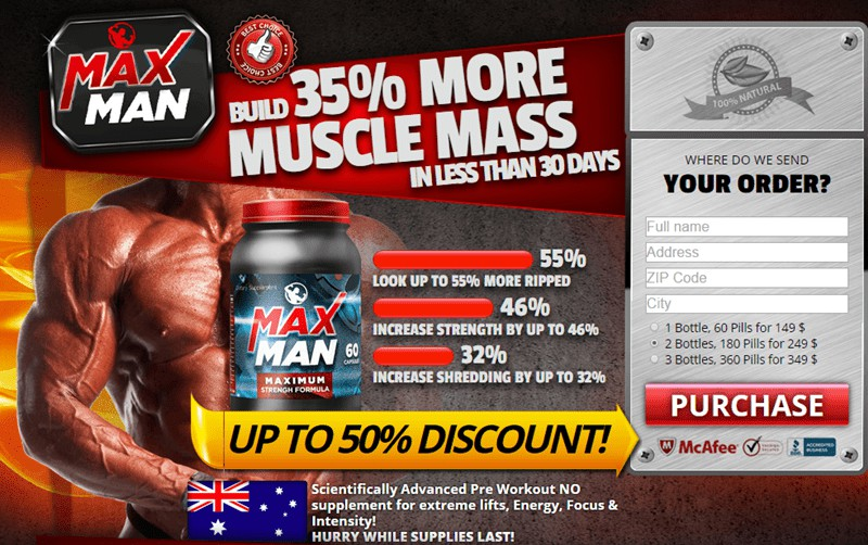 Maxman Australia - Build 35 Percent More Muscle Mass in Australia