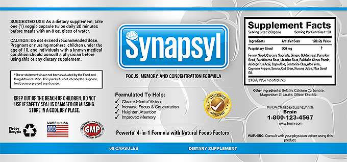 Synapsyl - Label and Supplement Facts