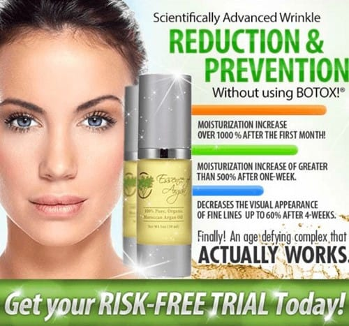 essence of argan - reduce and prevent wrinkles - risk free trial