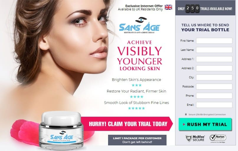 sans age cream - trial in uk - for visible younger skin