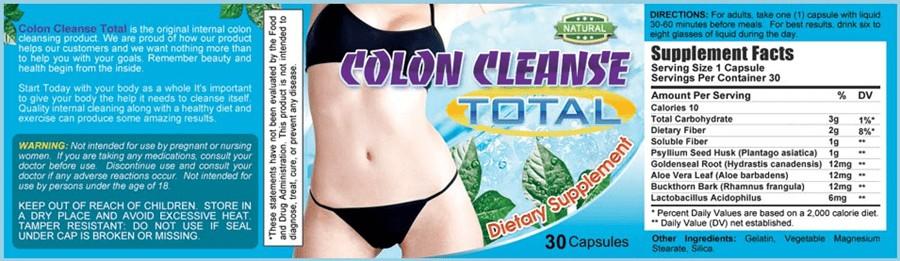 Colon Cleanse Total Label