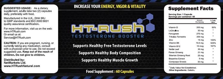 HT Rush Exclusive Supplement - Ingredients Label