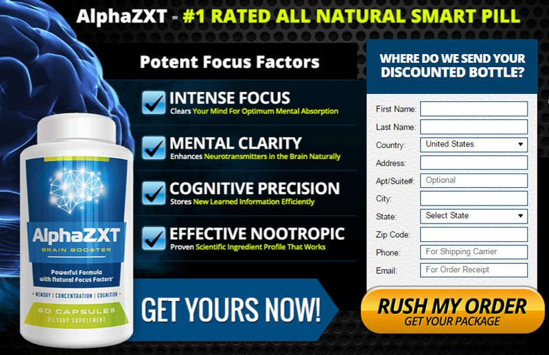 Alpha ZXT - Natural Smart Pill - Potent Focus Factors - USA