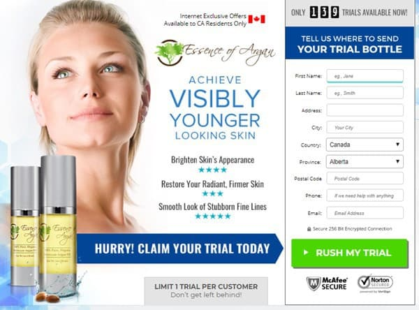 essence of argan trial - for brighter and wrinkle independent skin